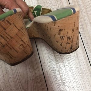 Sperry Shoes - Sperry Green striped anchor cork wedge shoes 7.5